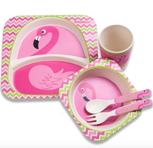 Посуда из бамбука «Фламинго» Для девочки